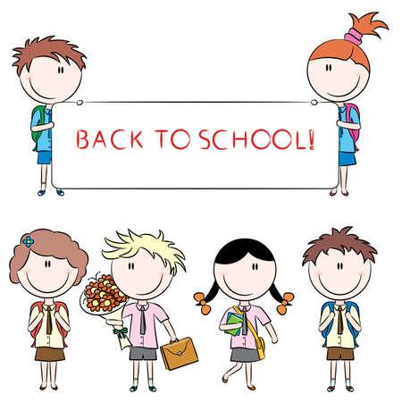 school girl uniform: Allegro carino scuola bambini con banner vuota, fiori e libri isolati su sfondo bianco