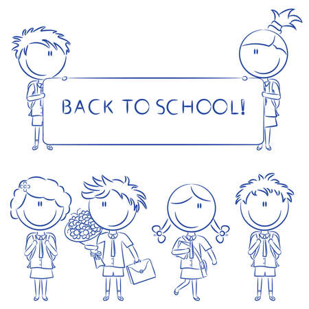 zapatos escolares: Ni�os de la escuela cute alegre con banner vac�a, flores y libros aislados sobre fondo blanco