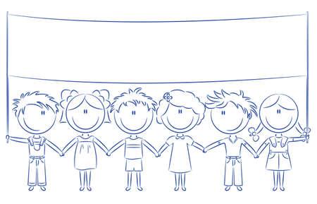 ni�os con pancarta: Los ni�os lindos felices alegres celebraci�n de vac�an banner para tu mensaje