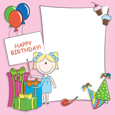Tarjeta de felicitación de cumpleaños feliz con lugar en blanco para sus deseos y el mensaje