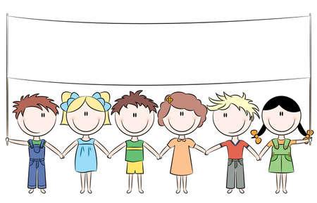 Los niños lindos felices alegres celebración de vacían banner para tu mensaje
