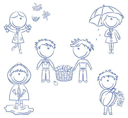 Doodle set of happy cute kids isolated on white background Stock Vector - 7599074