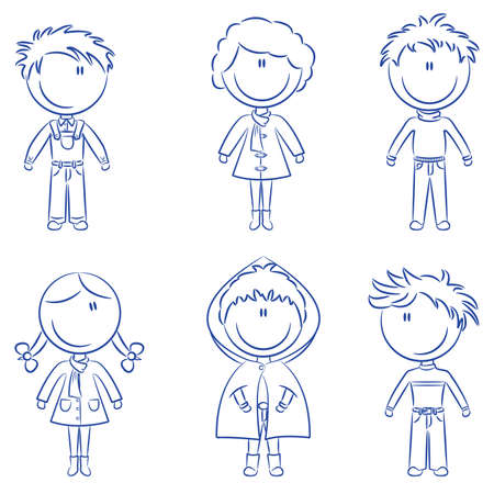 cute doodle: Cute doodle happy kids isolated on white background