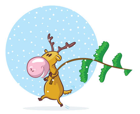 Funny deer going to decorate pine-tree for Christmas