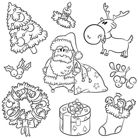Christmas cute elements in a hand-drawn style.  Illustration