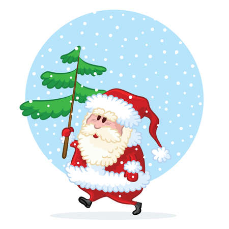 Funny Santa going to decorate pine-tree for Christmas Stock Vector - 7653645