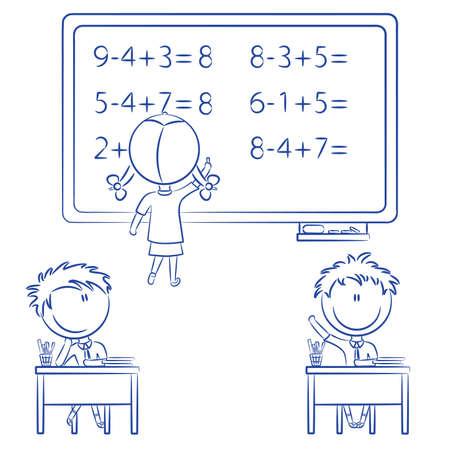 signos matematicos: Cute ni�os en la escuela relacionadas con situaciones  Vectores