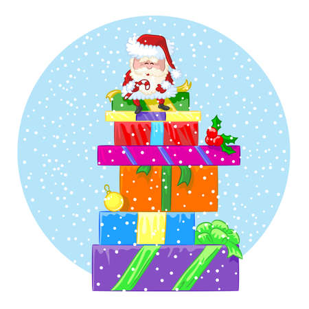 Happy Santa Claus sits on a large pile of different gifts under snowfall Vector
