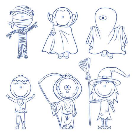 hat trick: Bambini vestiti in costumi pronti per festeggiare Halloween  Vettoriali