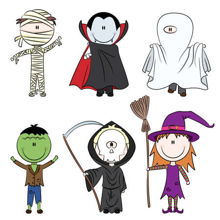 ghost character: Children dressed in costumes ready to celebrate Halloween
