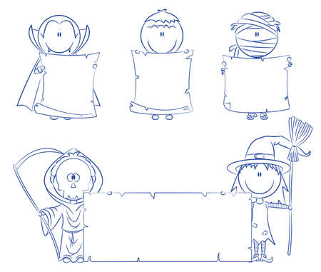 Children dressed in halloween costumes holding empty banner for your message Stock Vector - 7950035