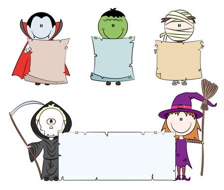 Children dressed in halloween costumes holding empty banner for your message Illustration