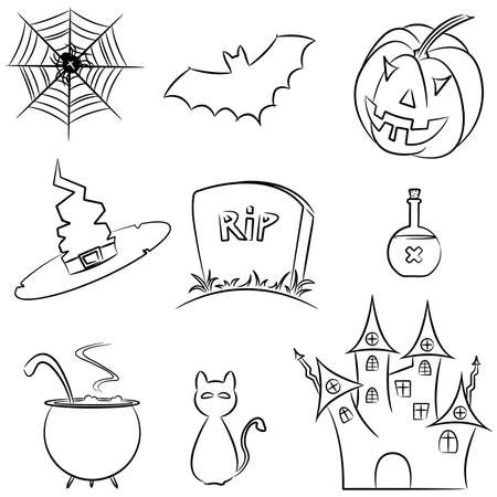 Doodle collection of halloween elements Vector