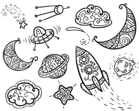 sputnik: Hand-drawn doodle with space elements