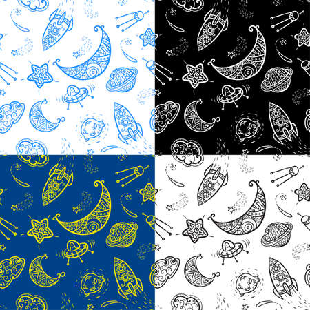 space science: Seamless pattern with space elements