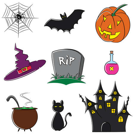 Doodle collection of halloween elements