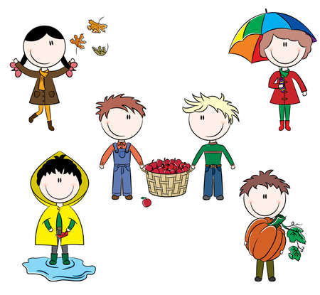 overcoat: Doodle set of happy color cute kids isolated on white background