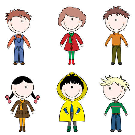 Cute doodle color happy kids isolated on white background
