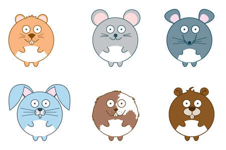 Cute rodents: hamster, mouse, rat, rabbit, guinea pig and beaver isolated on white background