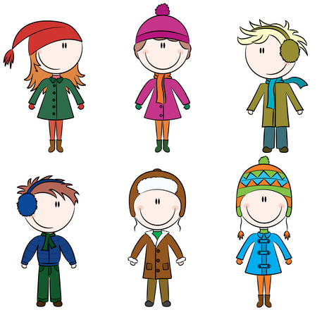 winter fashion: Cute cheerful kids in winter clothes Illustration