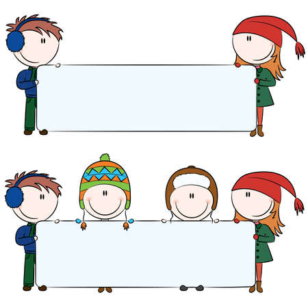Winter kids with blank banners for your message Stock Vector - 8419911