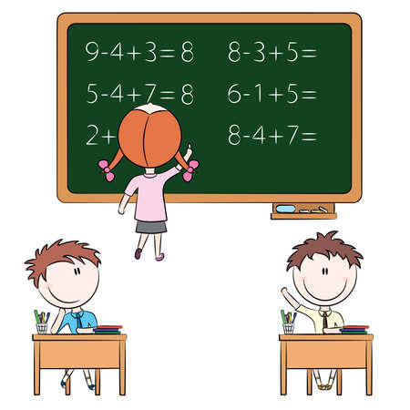 Cute children in school related situations Stock Vector - 8594904