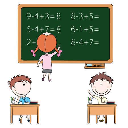 föremål: Söta barn i skolrelaterade situationer Illustration
