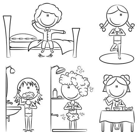 sillon dental: Vida cotidiana como wake up, yoga, dientes de limpieza, ducha y desayuno Vectores