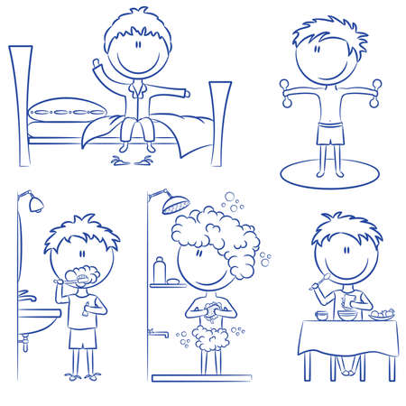 Daily Life including wake up, morning exercises, teeth cleaning, shower and breakfast