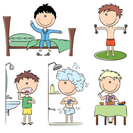 cartoon kids: Daily Morning Boys Life including wake up, morning exercises, teeth cleaning, shower and breakfast
