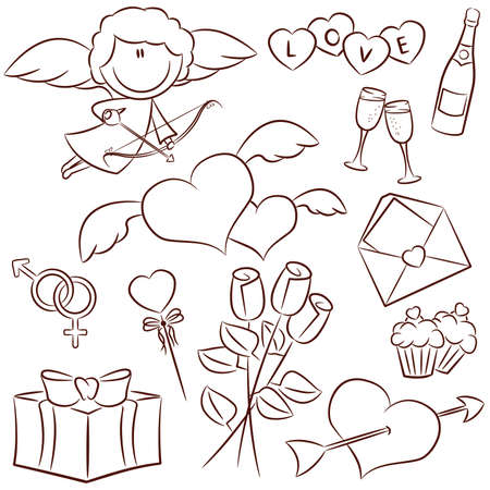 Doodle set with Valentine's Day icons  向量圖像