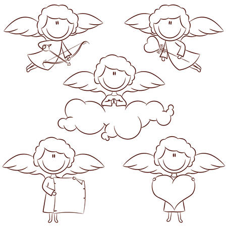 Cute cupid set with bow and arrows, heart, blank banner and cloud