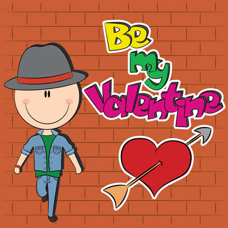 Greeting card with classy guy near brick wall and graffiti Vector