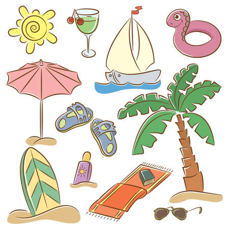 Summer beach doodles icons isolated on white background Stock Vector - 8855218