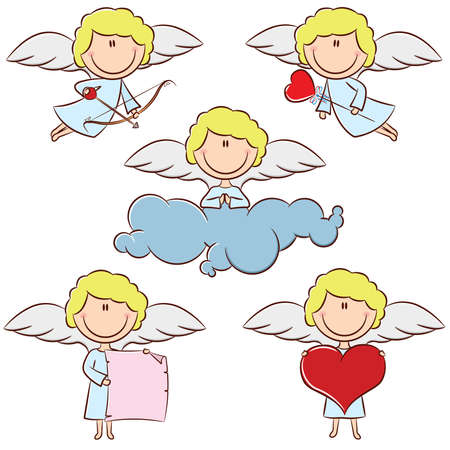 Cute color cupid set with bow and arrows, heart, blank banner and cloud