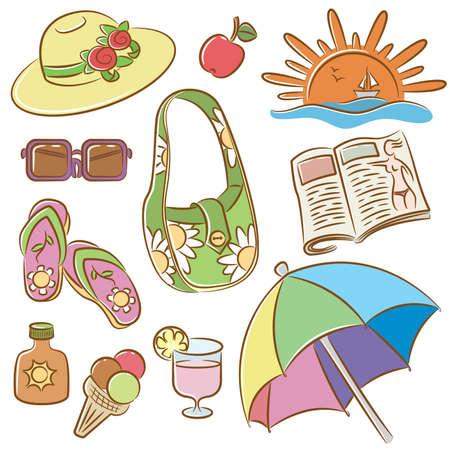 sun lotion: Colecci�n de iconos de doodle en el tema de las vacaciones de verano Vectores