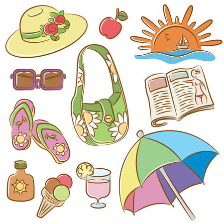 Collection of doodle icons set on summer female vacation theme Illustration