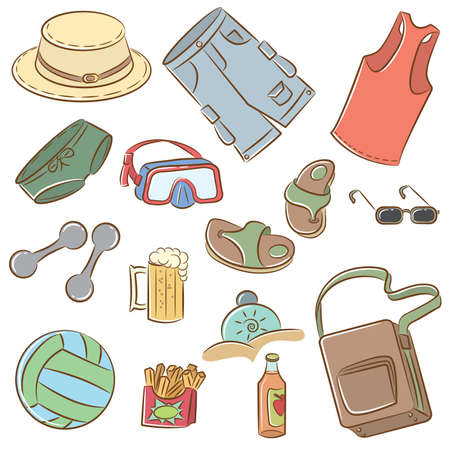 Collection of the doodle icons set on summer mans vacation theme Vector