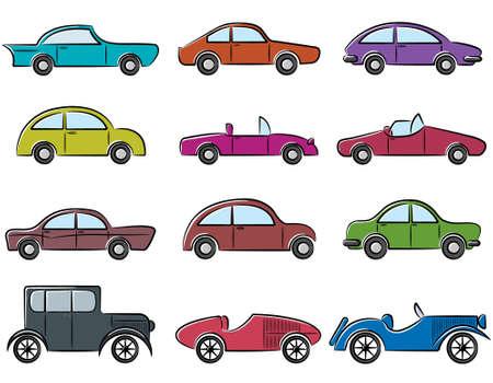 auto sign: Coches antiguos doodle conjunto de iconos de color