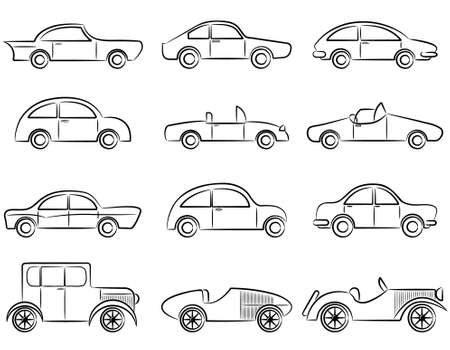 carro caricatura: Coches antiguos doodle conjunto de iconos de color