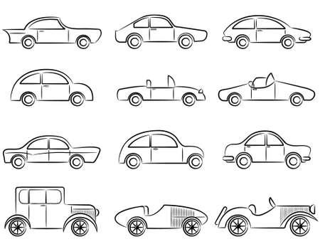 car outline: Vintage cars doodle color icons set