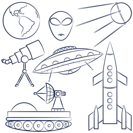 Doodles with a space exploration theme Vector