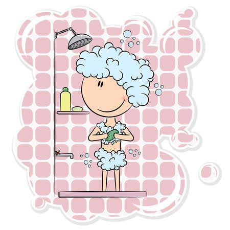 Girl having morning shower with big bubbles Illustration
