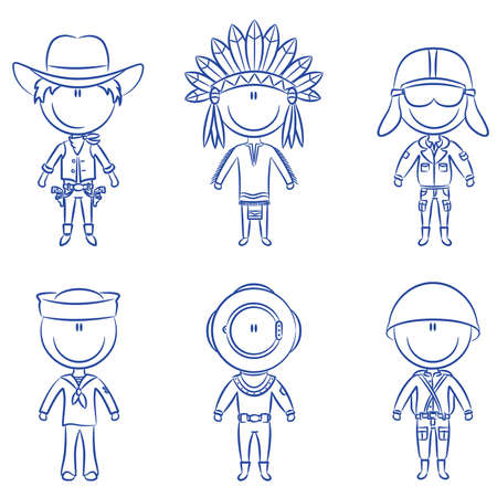 Cheerful children dressed in costumes of male occupations Vector