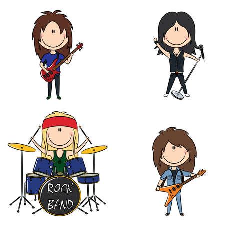 tambores: Imagen color de banda de rock de Funky infantil Vectores