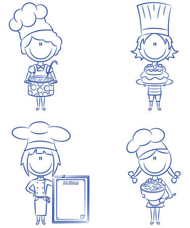 bake: Collection of small chef girls isolated on white background
