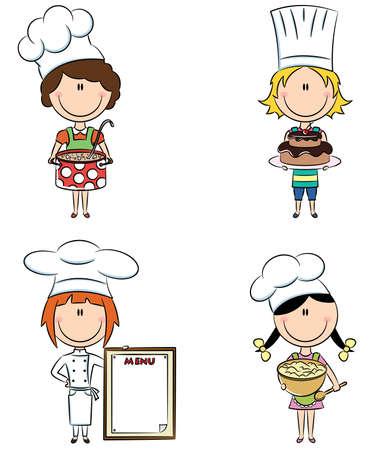 chef caricatura: Colección de niñas pequeñas chef aisladas sobre fondo blanco