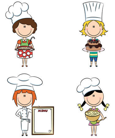 cartoon chef: Collection of small chef girls isolated on white background
