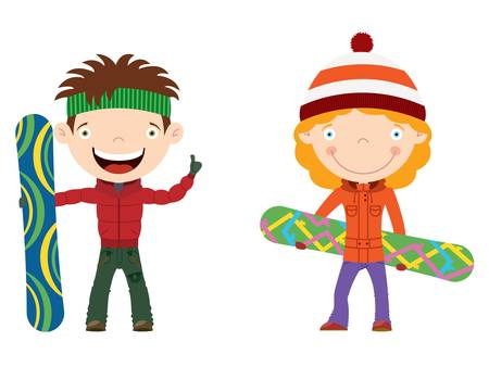 Cute cheerful kids with boards for snowboard. Color illustration. Vector