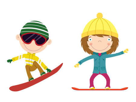 Cute cheerful kids flying on a snowboard. Color illustration. Vector